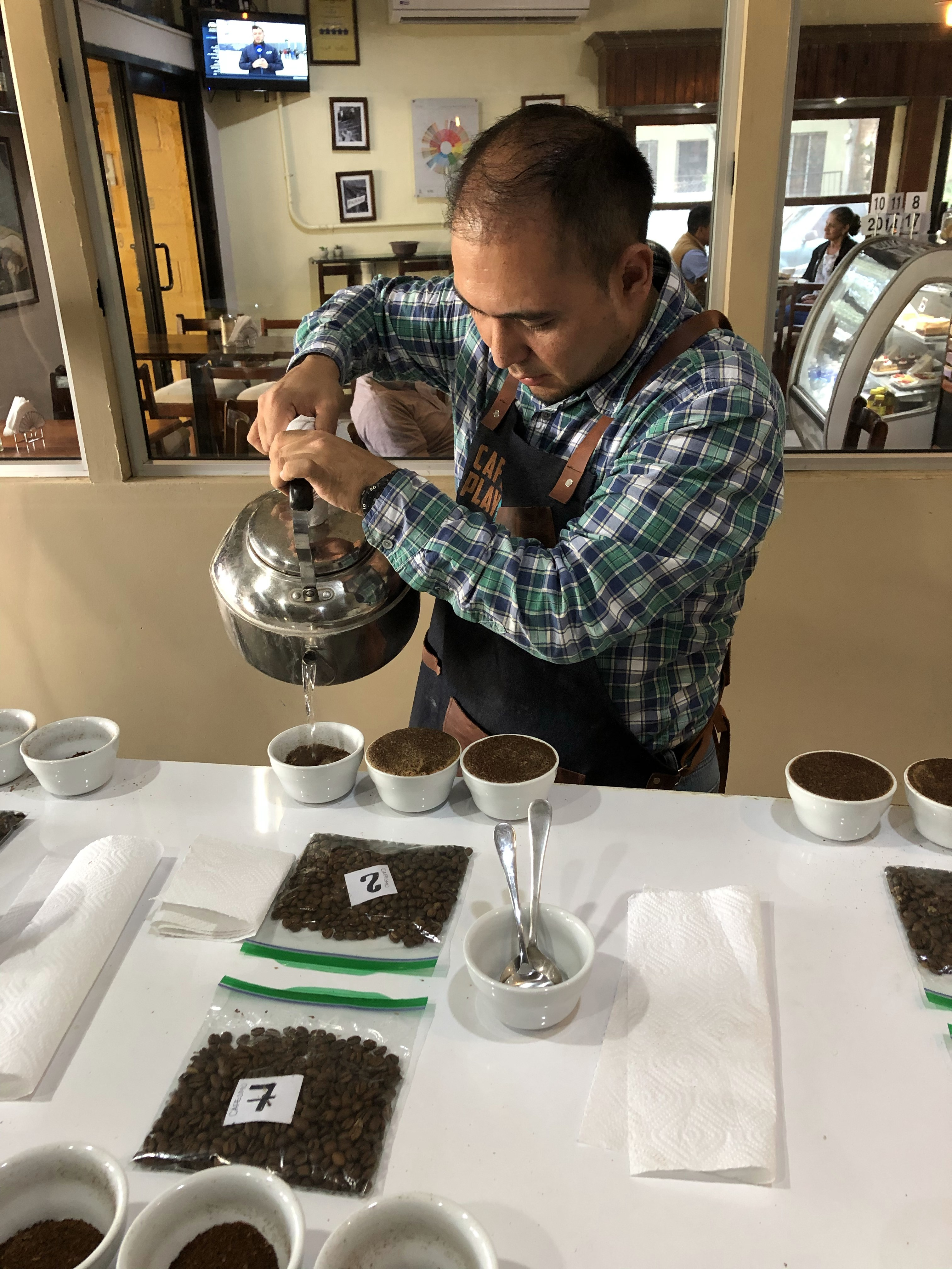 Our Q Grader Jorge, cupping our coffees